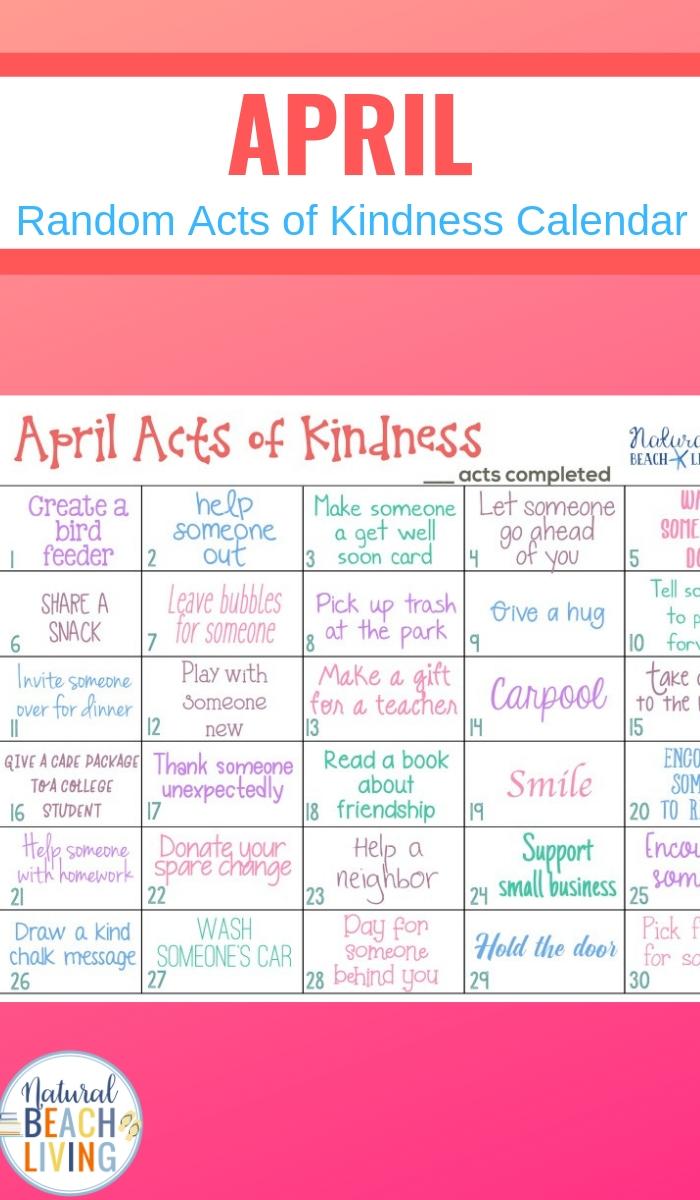 April Random Acts of Kindness Calendar