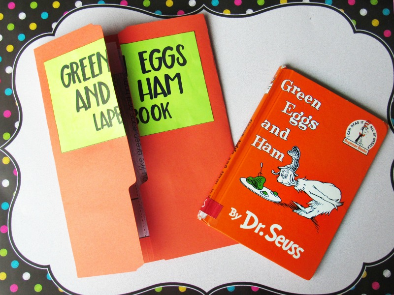 Green Eggs and Ham Activities for Preschool and Kindergarten to your Dr. Seuss lesson plans or theme week. You and your children will love it! It's a super simple lapbook with free Dr. Seuss printables. Green Eggs and Ham Printables, Green Eggs and Ham Rhyming Activities, Dr Seuss Printables