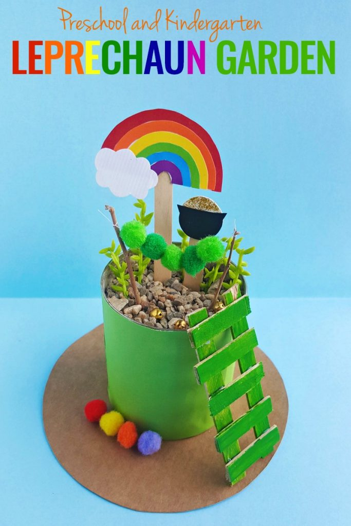 Leprechaun Garden, Gardening Activities for Preschoolers, With just a few supplies, you can make a cute Leprechaun Garden for St. Patrick's Day. This Easy Garden idea for preschoolers and kindergarten is a sweet rainbow garden you can enjoy all spring. St. Patrick's Day Craft for Preschoolers