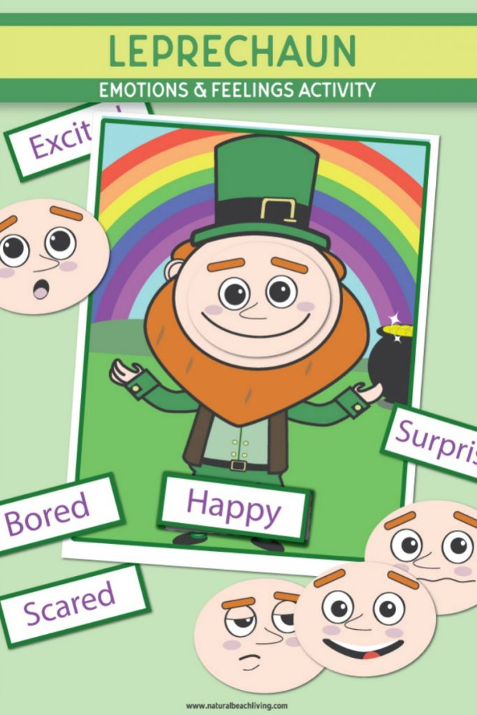 Preschool Emotions Printables and Feelings Activities for St. Patrick's Day. These cute Leprechaun Activities are great for your toddlers, preschoolers, and Kindergarten children. You can use these leprechaun printable emotions cards for a preschool center, fun St. Patrick's Day Activities, or for helping children regulate emotions. A Feelings Game Printable and Free Printable Emotion Cards and Feelings Cards for preschoolers.