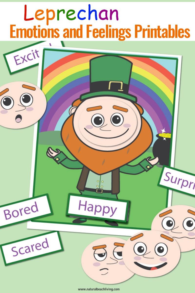 St. Patrick's Day Preschool Emotions and Feelings Printables Leprechaun Activities