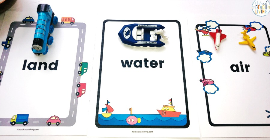 Preschool Transportation Theme Printables, If You're Ready for The Best Transportation Preschool this Sorting Land Air Watertransport activity is perfect! Download a Free Montessori Geography Printables for Land Air Water Preschool and start learning about this fun preschool topic. Free Printable Land Air Water Transportation Sort