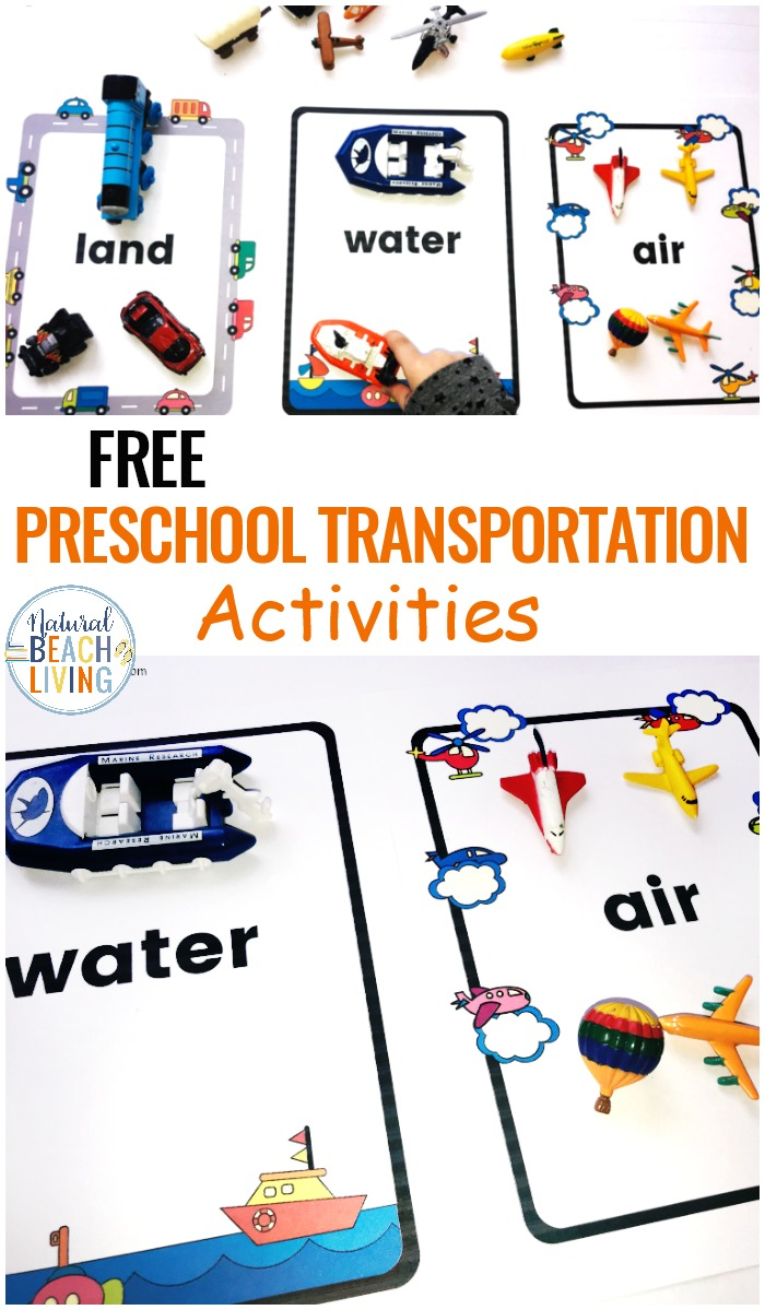 preschool transportation theme printables sorting land air water transport natural beach living. Black Bedroom Furniture Sets. Home Design Ideas