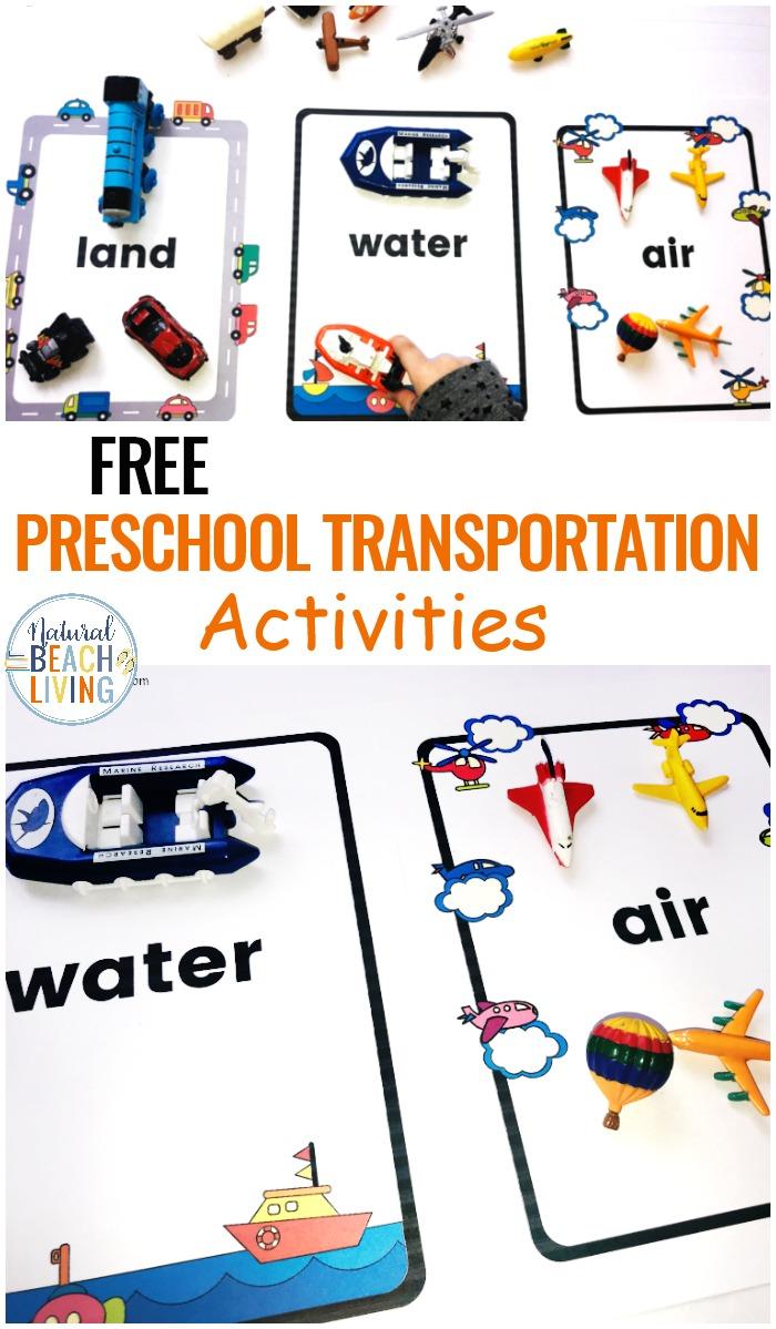 Preschool Transportation Theme Printables – Sorting Land Air Water Transport
