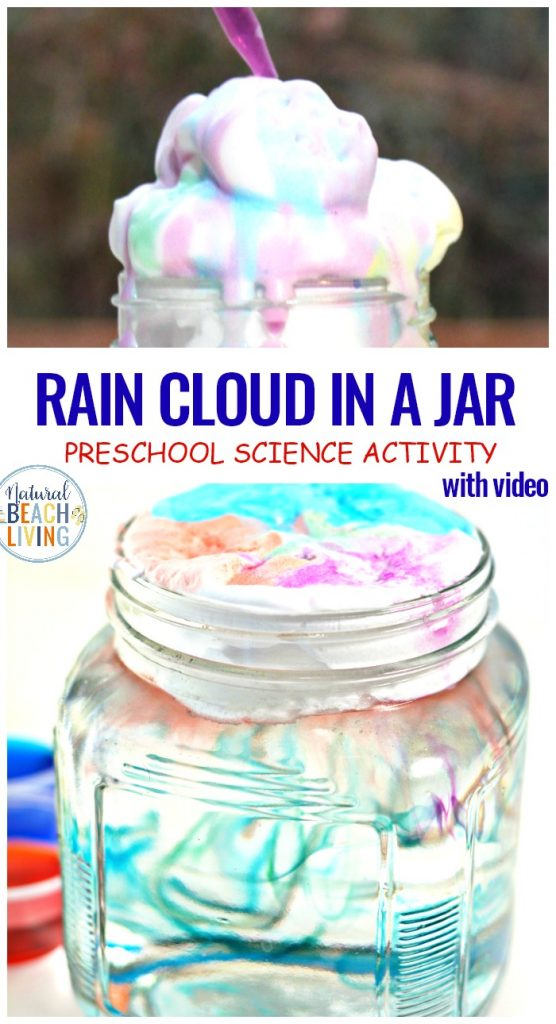 Rain Cloud Experiment and Preschool Science Experiments, Doing a Rain Cloud in a Jar Experiment is perfect for preschool and Kindergarten science. This weather science experiment gives your children a chance to explore clouds and rain with hands-on activities. Perfect for a preschool weather theme, Preschool Science,