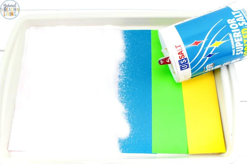 Rainbow Salt Tray Sensory Writing Activities For Preschool Natural