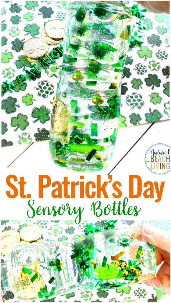 How to Make St. Patrick's Day Sensory Bottles, Easy Sensory Bottles for Kids, These DIY sensory bottles for preschool are an easy sensory play idea, Science Bottles, Discovery Bottles, Easy Glitter sensory bottles ingredients for your Science Table, St. Patrick's Day Activity, STEM, St. Patrick's Day Preschool Theme, Sensory Activities #sensoryplay #stpatricksday #sensorybottles