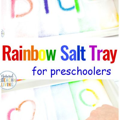 Rainbow Salt Tray Sensory Writing Activities for Preschool