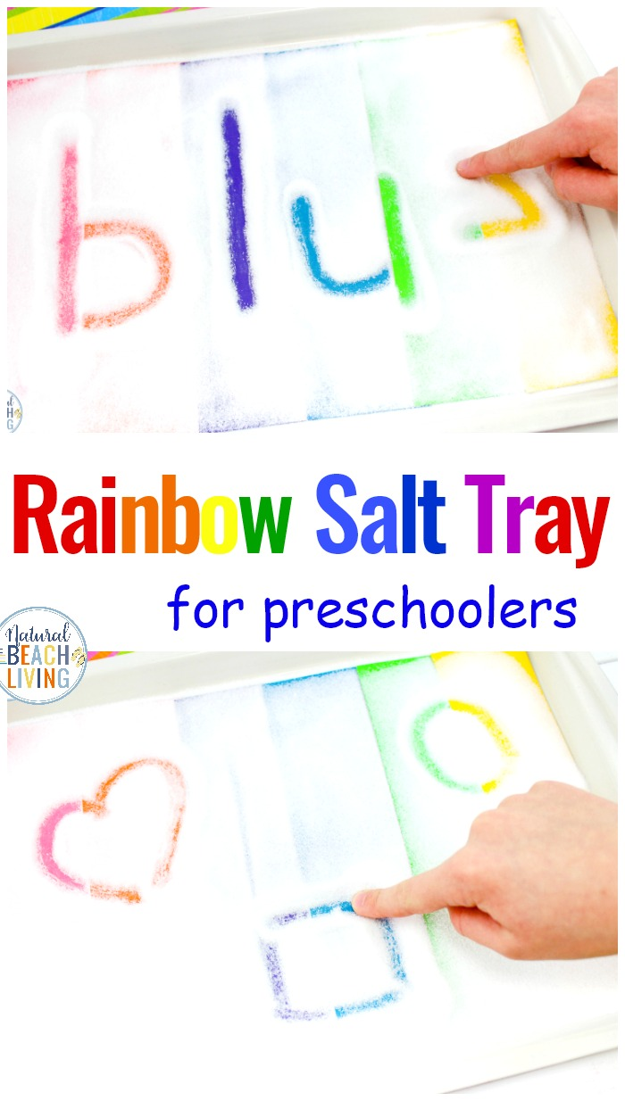 Rainbow Salt Tray Sensory Writing Activities for Preschool