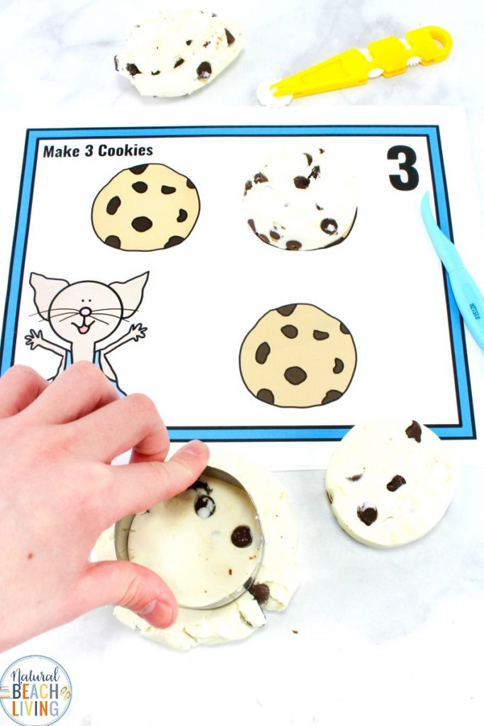 Cookie Dough Playdough is the Best! Edible Playdough, If You Give A Mouse A Cookie Activities, Children can cut the dough, squeeze the dough, flatten the dough, slice the playdough and make cookies to use with their counting playdough mats. This is the perfect playdough recipe to go with the book If You Give A Mouse A Cookie. Enjoy these free playdough mats and this chocolate chip playdough recipe no cook, Playdough Recipe without Salt