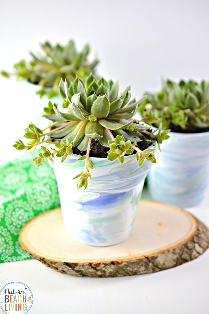 Marbled Pots Planting Crafts for Kids
