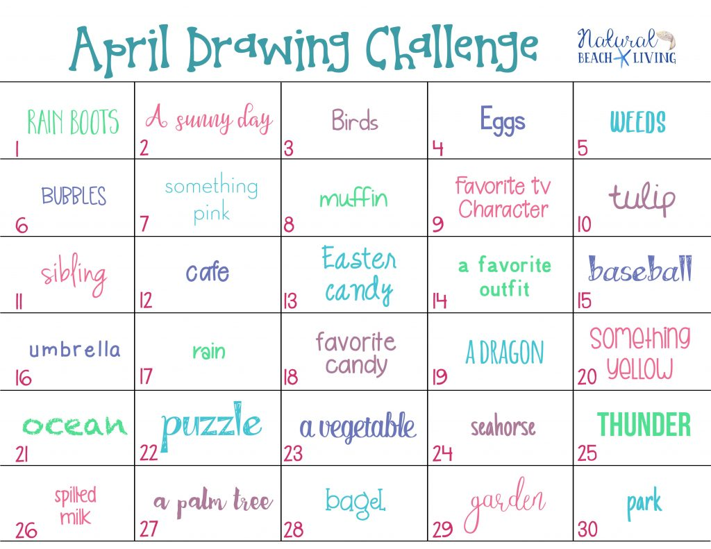 April Drawing Challenge for Kids and Adults, Full of fun Spring themes and topics like Gardening baseball, flowers, birds, Easter and more. Get Creative with a year of drawing prompts that you can download here for free every month. 30 Day Drawing Challenge