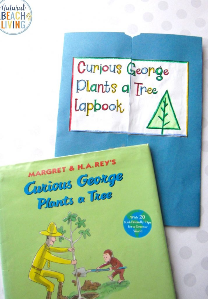 Curious George Plants a Tree Activities, These Fun Book Activities is a Free Lapbbook with Curious George Printables, Perfect Earth Day Activities and Kindergarten Tree Theme with Recycling Activities for Kids, Kindergarten and preschool sorting activities and Reading Skills Activities