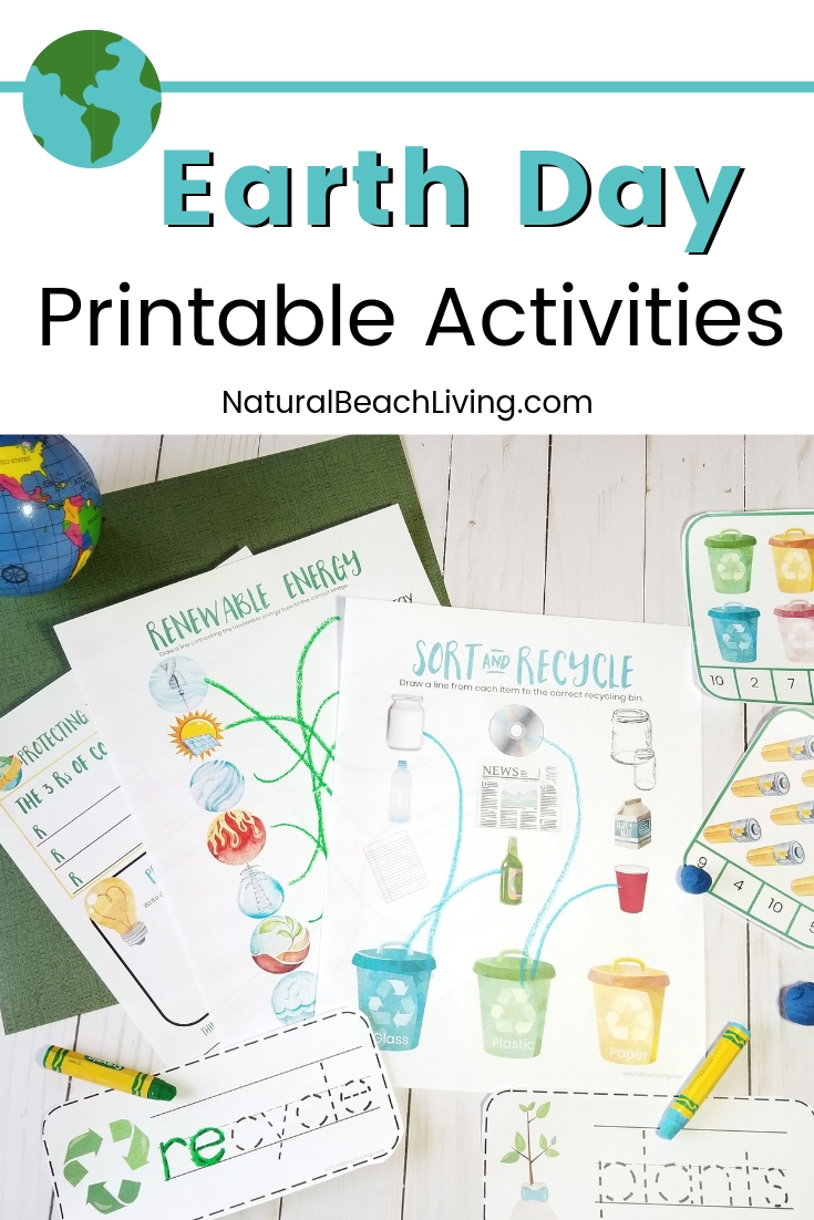 Your Kids will love these Earth Day Printables and Earth Day ideas with Recycling activities. You'll get Earth Day Handwriting Pages, Learn about renewable energy with kids, Recycle activities for preschoolers, Protecting the Earth Planning Journal and preschool activities