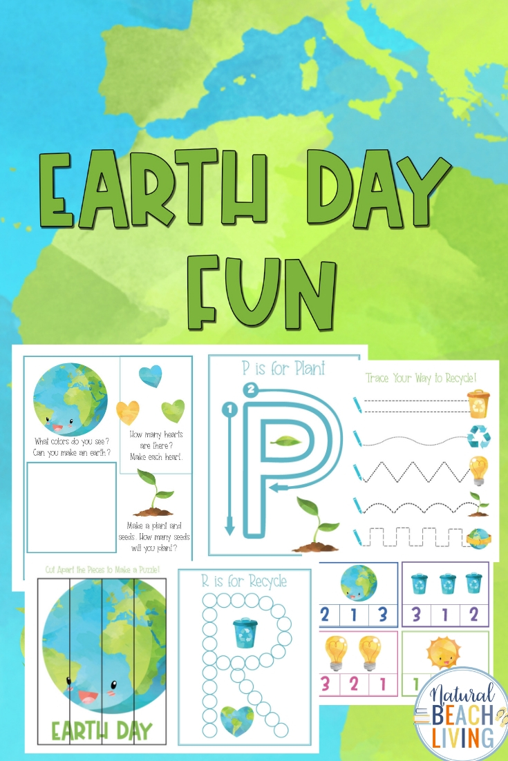 23 Earth Day Preschool Activities Pack that include fun Earth Day Preschool Worksheets, Preschool Earth Day Activities with preschool recycling activities, Hands-on learning for preschoolers with activities that include puzzles, math, language activities, handwriting and alphabet activity sheets.