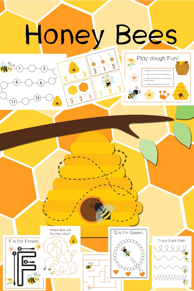 Preschool Honey Bee Theme Printables, Honey Bee Activity Sheets and Preschool Activities with Hands-on activities that include preschool printables with puzzles, preschool math, handwriting, fine motor skills, alphabet worksheets, alphabet activity sheets, Cutting practice, Playdough Mats and more.