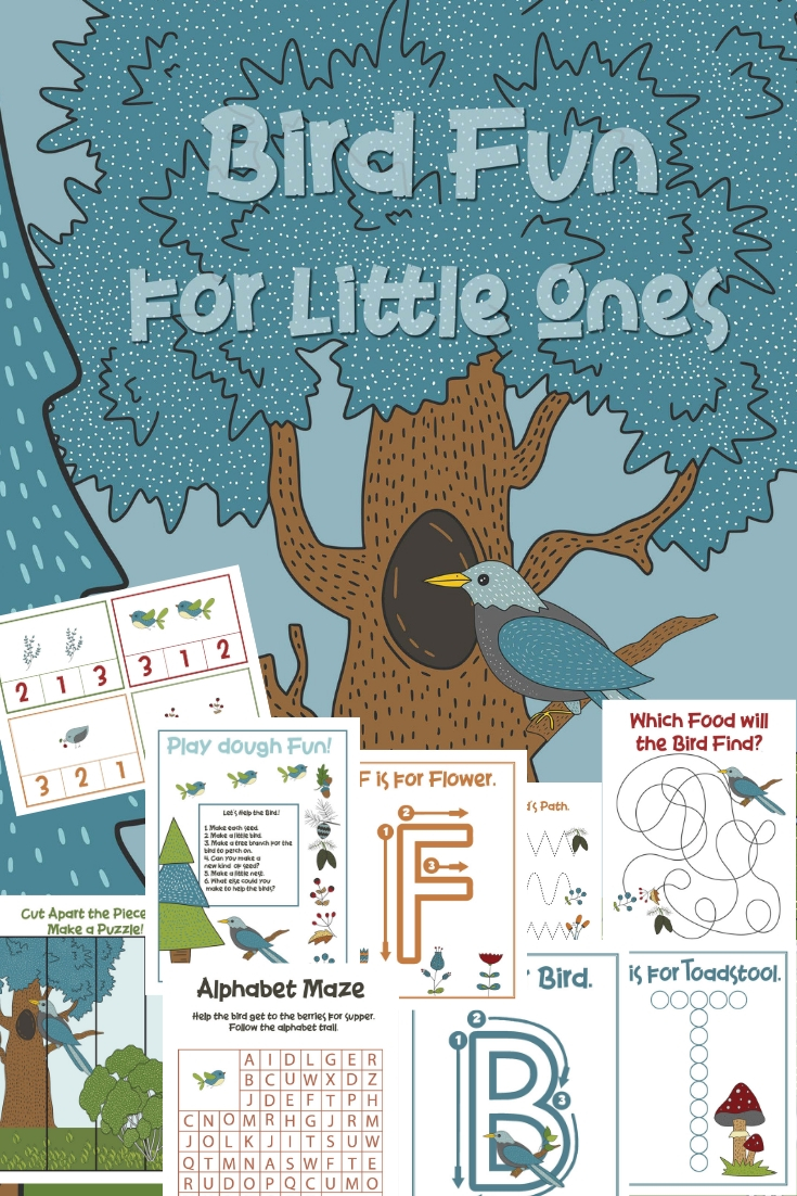 24 Page Bird Theme Preschool Activities Pack with Hands-on learning Bird Printables, Hands on learning with activities that include preschool printables with puzzles, preschool math, handwriting, fine motor skills, alphabet activity sheets, Playdough Mats and more.
