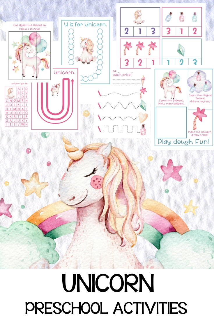 This Unicorn Preschool Activities Pack is full of fun Unicorn Printables your children will love. Hands-on learning with activities that include puzzles, math, language activities, and alphabet activity sheets. Unicorn Activity Sheets, Unicorn Preschool Theme, Unicorn Preschool Packs