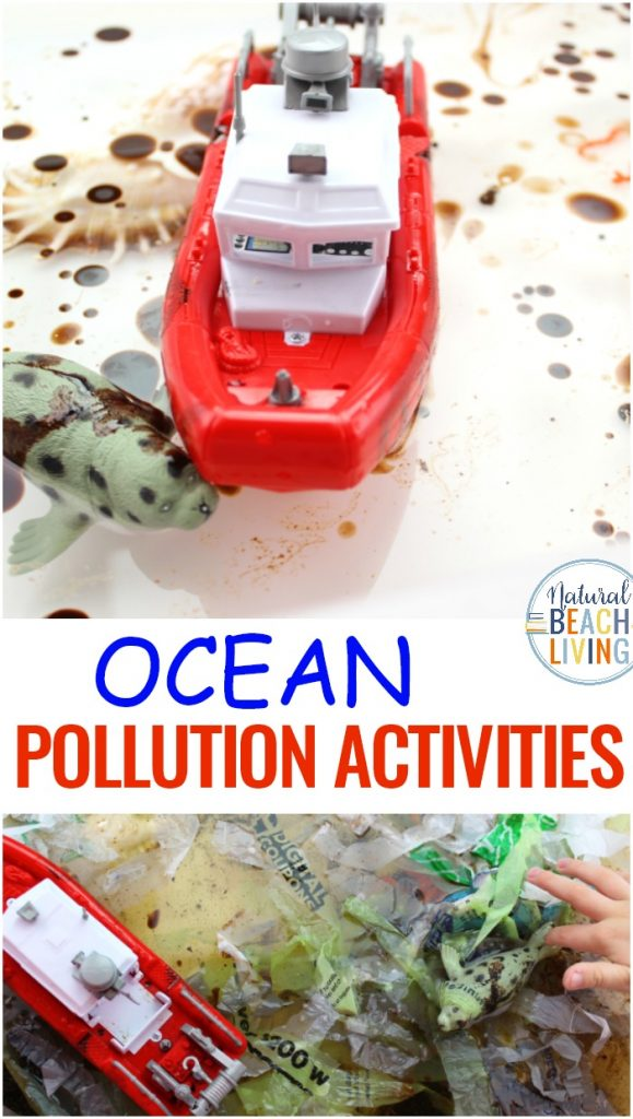 Ocean Pollution Activities and Ocean Pollution Sensory Bin and Sensory Bottles to show visual water pollution. You'll find how to teach Pollution in a fun way with Water Pollution Activity and Pollution Activities for Kids, including Ocean Pollution Facts. These are great Earth Day Activities