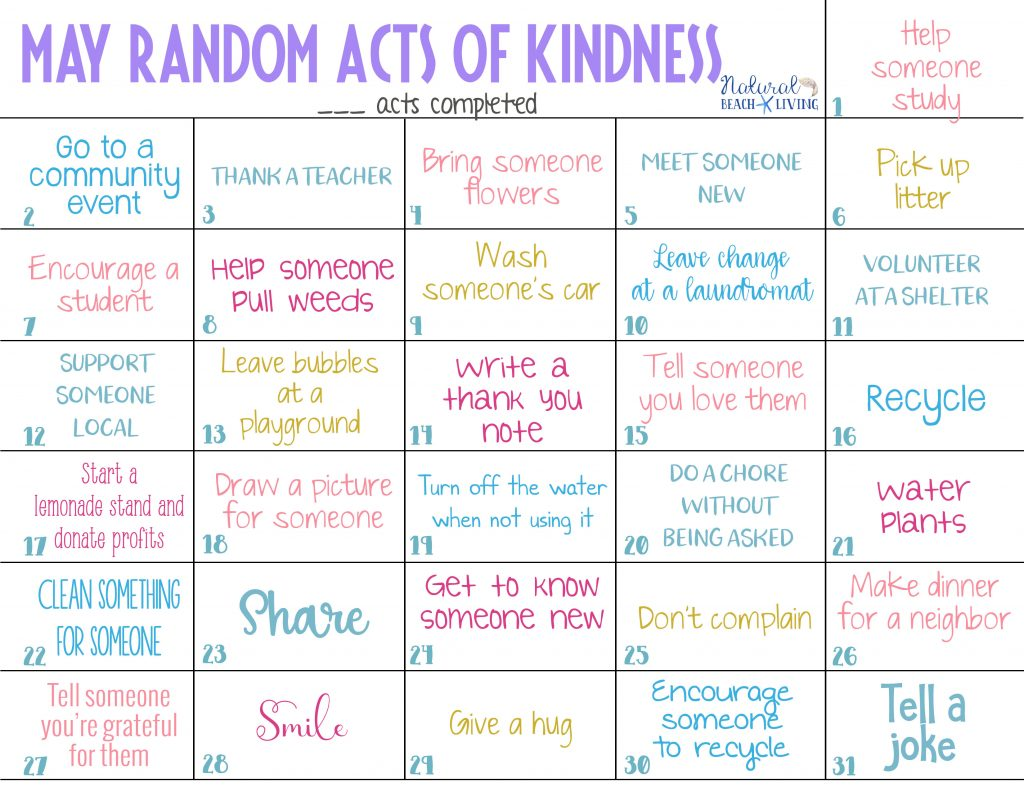 This May Random Acts of Kindness Calendar is full of random acts of kindness ideas for kids, adults or in the classroom. These acts of kindness ideas are helpful ideas like bringing someone flowers, recycling and even supporting a local business, Kindness Ideas and Free Kindness Cards