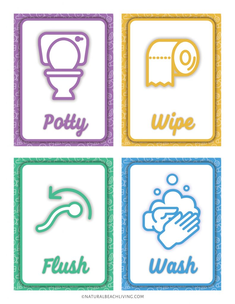 If you've ever potty trained a child, you know that it's not the easiest thing you'll do but, this Visual Schedule Potty Training Chart with Potty Training Visual Cards will help your child have good bathroom habits. Use Visual Support like this routine chart and Free Printable Picture schedule cards, Free Potty Training Visual Cards