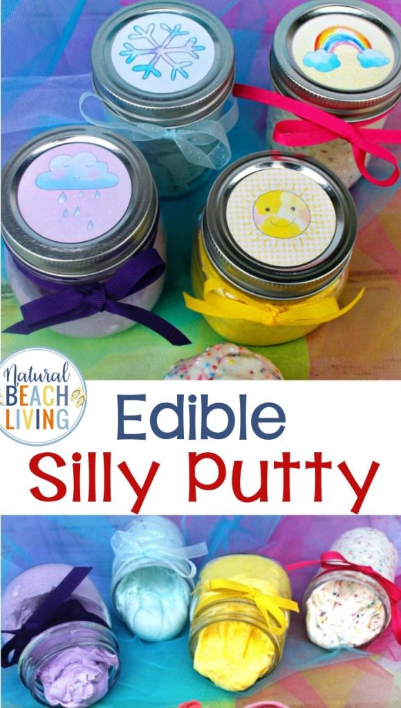 Learn How to Make Putty and a great Silly Putty Recipe, It's The Best Edible Silly Putty Recipe for Weather Theme Preschool Sensory Activities, DIY Putty and Weather Theme Printables for Perfect Preschool theme activites for learning about the weather.
