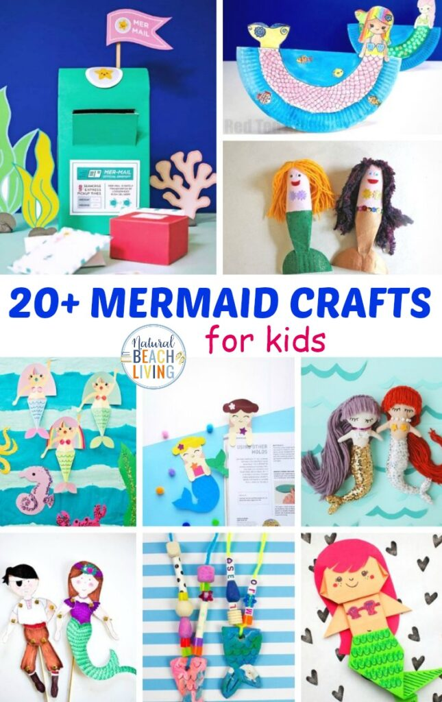 20 Awesome Mermaid Crafts for Kids, These mermaid crafts are the perfect activities to fill your day. Gather a few supplies to create these crafts for a mermaid themed birthday party or Mermaid fan, You'll find Ocean crafts, Mermaid Slime, paper plate crafts, bookmarks, and so much more.