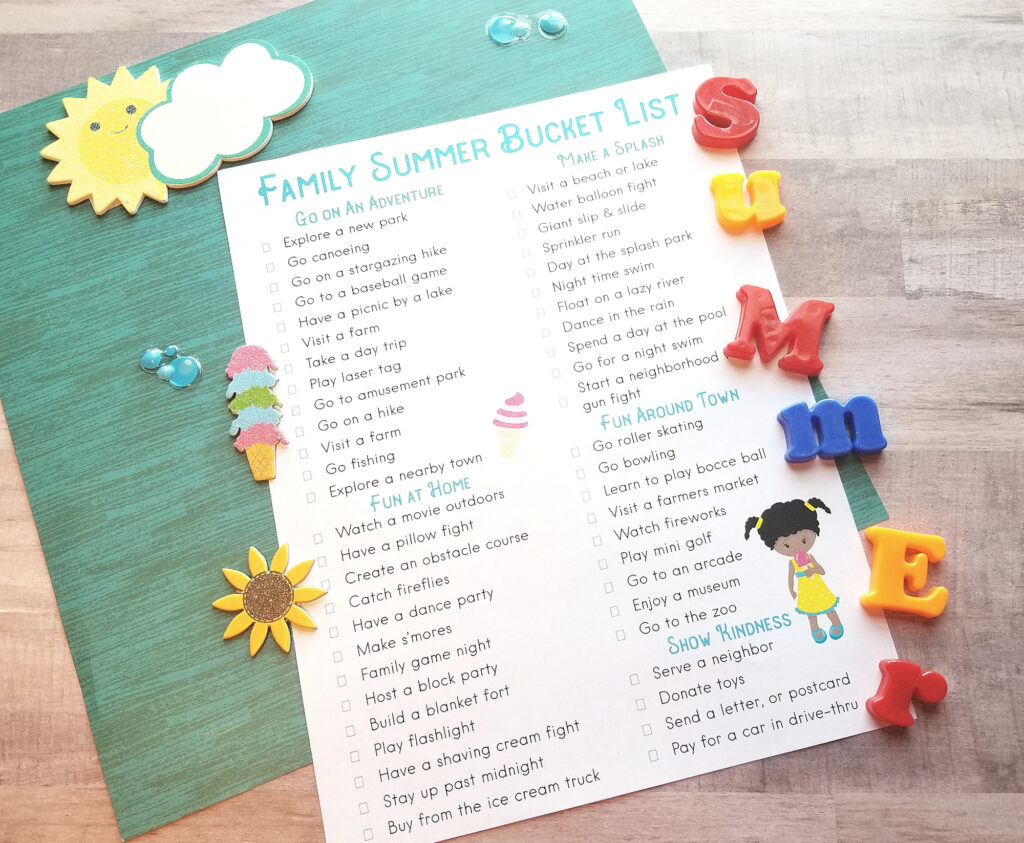 Limit screen time and keep the kids active this summer with this fantastic Summer Bucket List Printable. A Summer Bucket List for Kids, These Family summer bucket list ideas are full of fun with summer activities, water play ideas, hands-on activities for kids, family adventures, and so much more.