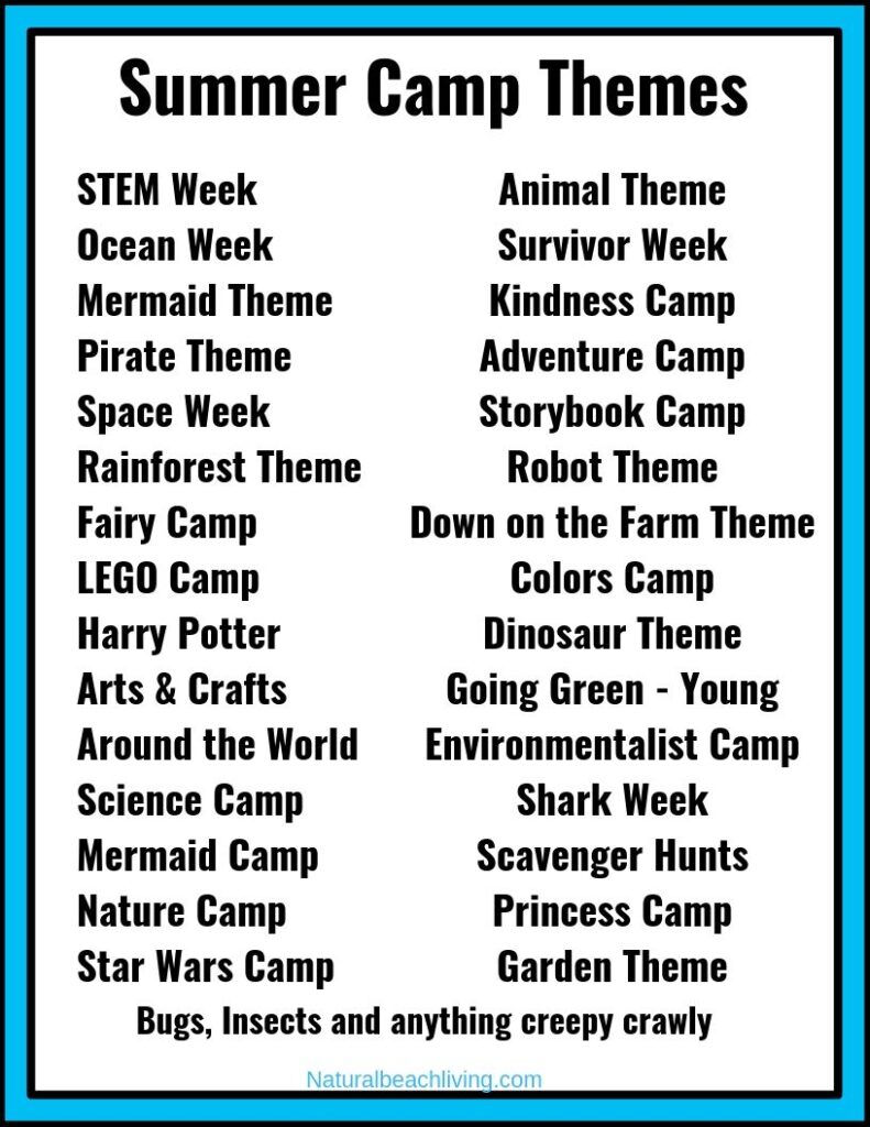 These 30+ Summer Camp Themes and Descriptions will give you fun activities and ideas to fill your days with exciting Summer Themes. Summer Camp Theme Ideas for Preschoolers and youth camp, This page is full of great summer themes to explore nature, arts and crafts, Science, STEM, ocean activities, kindness and so much more.