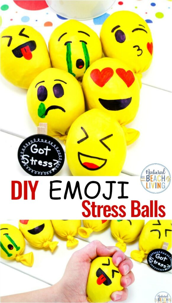 DIY Emoji stress balls are adorable squishy balls perfect for adults and children. Homemade Stress Balls stretch, squeeze, and they are fun to use. Plus, they are great stress relievers too. Check out The Best DIY Stress Balls and How to Make a Stress Ball Here! Emotions activities and Feelings Activities for Kids, Stress Balls for Kids