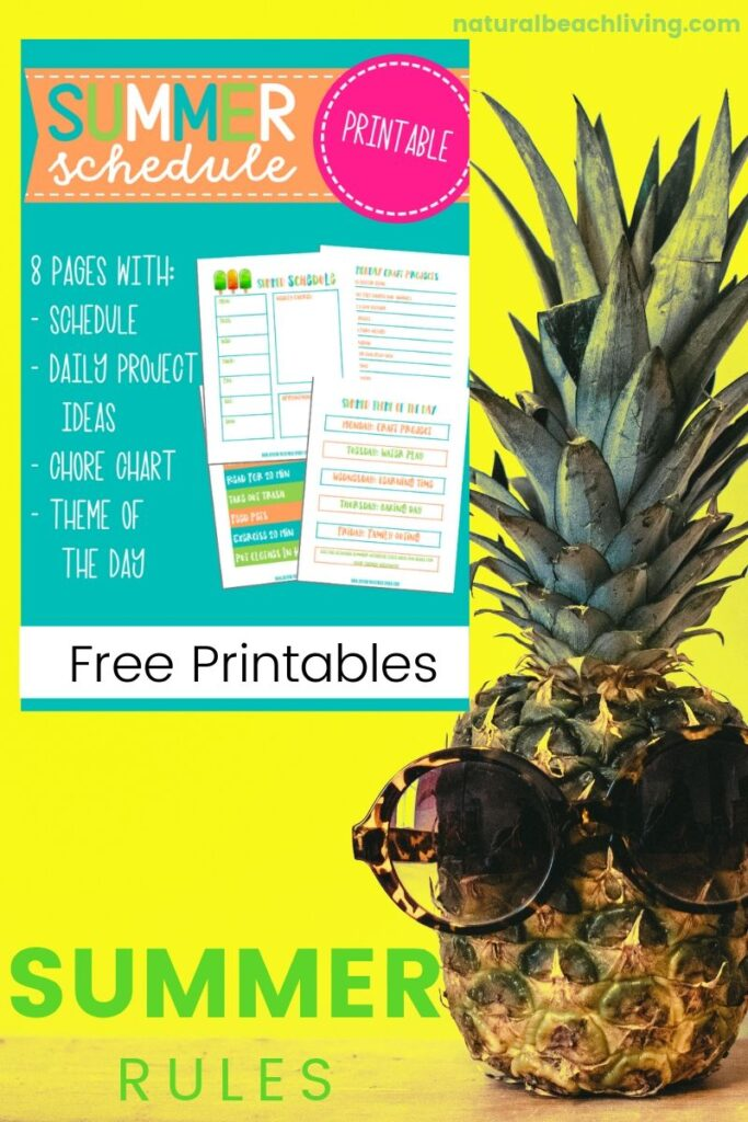 This Summer Schedule for Kids is 8 pages of awesomeness for moms and kids. A weekly planner page and summer theme activities to fill your children's days with fun. Summer Rules plus Free Summer Activities, a Chore Chart and Daily Schedule for Kids. This Free Summer Schedule is the best!