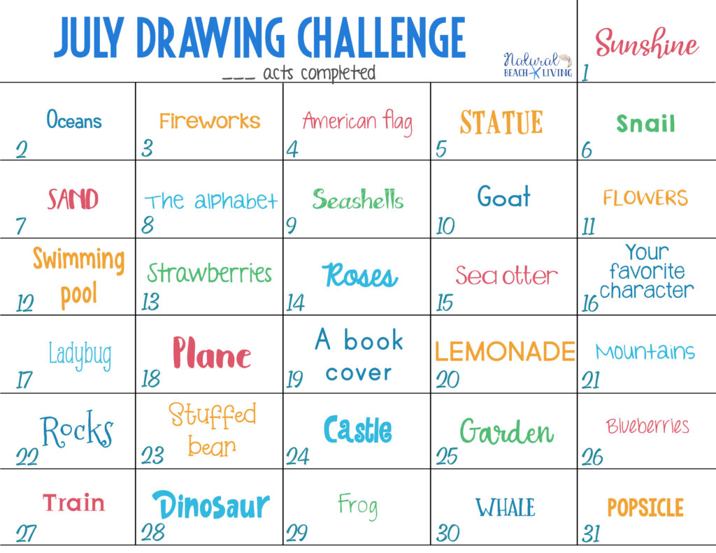 This July Drawing Challenge Ideas is great for kids of all ages and adults! Not only does it encourage them to use their imagination but it teaches skills, too! Grab your Free 30 Day Drawing Challenge List, These Summer drawing challenge ideas are great to help keep you inspired and making art, you can enjoy these free monthly drawing challenges.