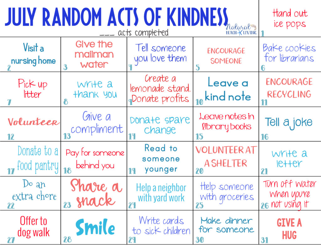 These July Random Acts of Kindness are a great way for everyone in the family to get out and give back in simple and easy ways. The Best Random Acts of Kindness Ideas with free Acts of Kindness Calendar. It's full of kindness examples for you and your child to spread kindness every single day.