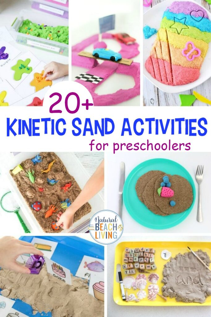 These Kinetic Sand Activities are great for preschoolers and toddlers working on fine motor skills. Sensory Play and hands-on activities helps with brain development so I suggest adding a few Kinetic Sand Ideas to your next preschool theme or sensory bin. Plus, the sand just feels so cool
