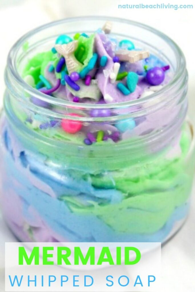This Mermaid Whipped Soap is so fun and easy to make! All you need are a few easy ingredients to make DIY Soap and you'll have it done in no time at all!  This is the perfect Soap for Kids or give these out for your next Mermaid Theme Party or Gift Jar Idea. See How to Make Squishy Soap Here
