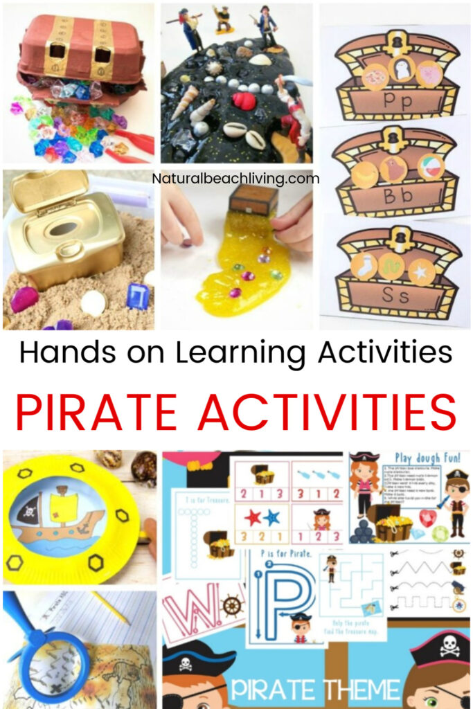 These Pirate Activities for kids are perfect for preschool and Kindergarten children to play with and create! You'll have a blast right along with them. Pirate activities are great to add to an Under the Sea or Ocean Theme, Ocean Activities, or for a summer preschool theme.