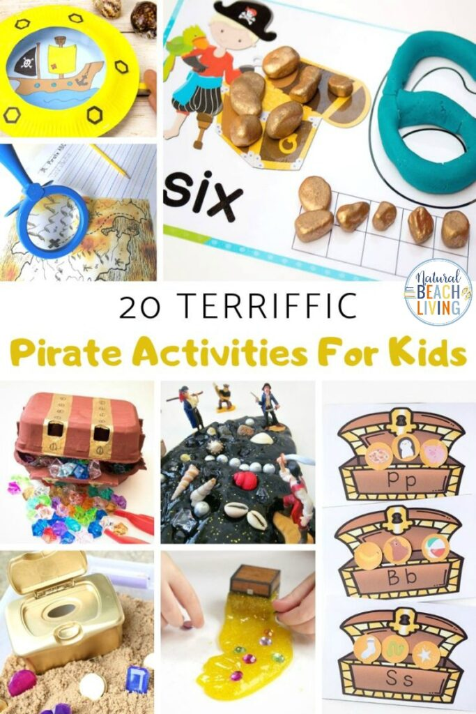 These Pirate Activities for kids are perfect for preschool and Kindergarten children to play with and create! You'll have a blast right along with them. Pirate activities are great to add to an Under the Sea Theme, Ocean Activities, or for a summer preschool theme.