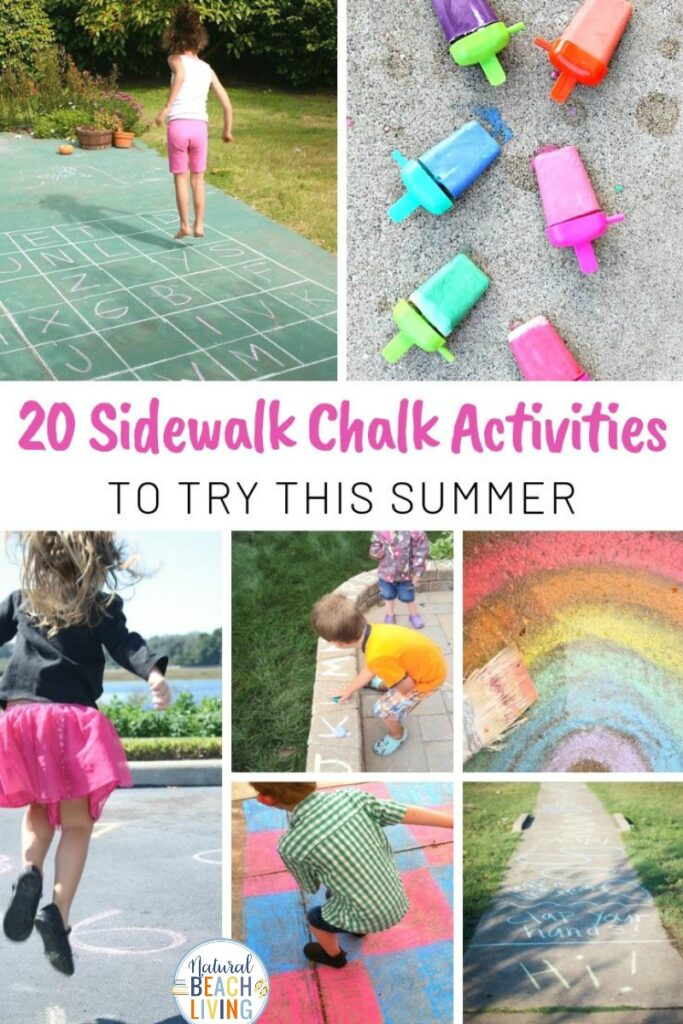 These Sidewalk Chalk Activities are certain to provide hours of outdoor play for your children! Let them channel their imagination and creativity! Make DIY Sidewalk Chalk and enjoy lots of Summer fun with these AWESOME Sidewalk Chalk Activities for Kids