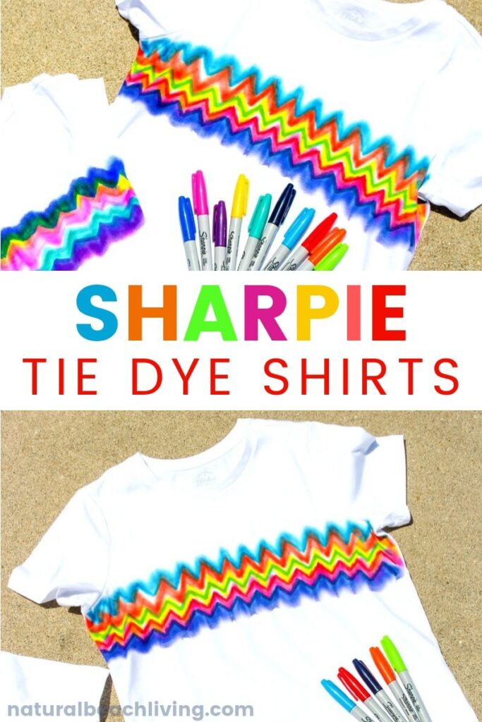 Learn How to Make Super Cool Sharpie Tie Dye Shirts, This Tie Dye Craft is perfect for a summer activity and for Kid Made Gifts, Summer Crafts for kids and Sharpie Art Ideas, This can also be a fun  a color mixing science experiment with Sharpie dyeing and art for kids