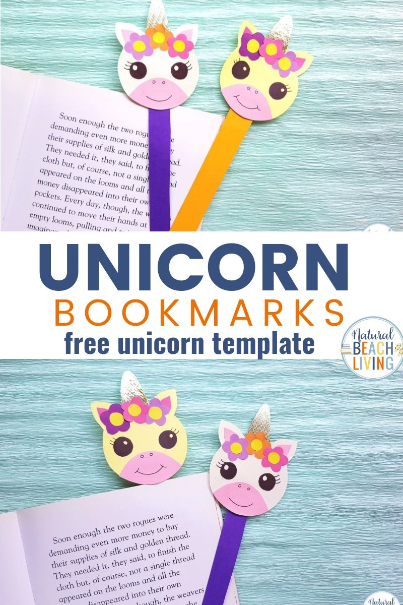 Unicorn Bookmarks with Printable Unicorn Template - Natural Beach Living