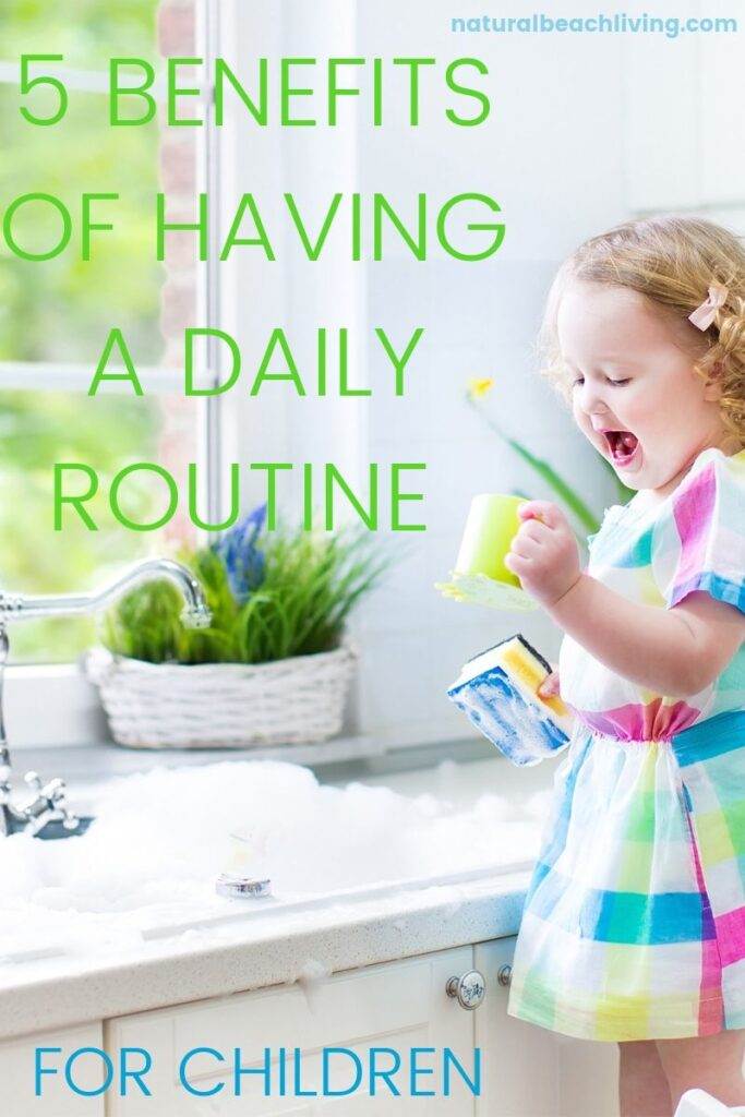 The Benefits of Having a Daily Routine for kids, with Visual schedule cards plus 5 benefits of having a Kids daily Schedule that helps the whole family. Daily routine charts that your children will love, Plus preschool daily schedule ideas, Schedule for Kids with Bedtime  Routine ideas and more