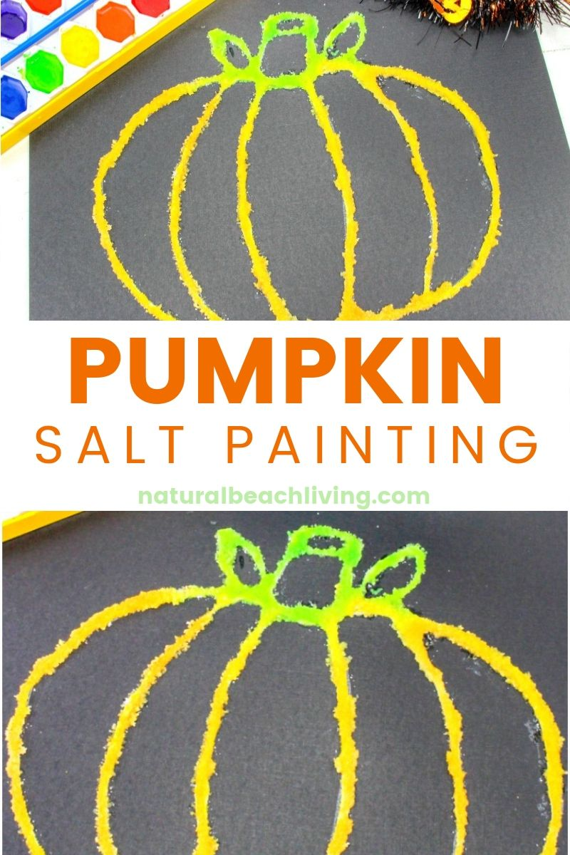 How to Make Halloween Pumpkin Salt Painting, This is a fun PUMPKIN art and science Experiment with Watercolor Salt Painting for Preschoolers, Use this with a Pumpkin Preschool Theme or a Fun Fall Pumpkin craft kids will love, Learn all about Salt Painting and Halloween Watercolor Painting for kids