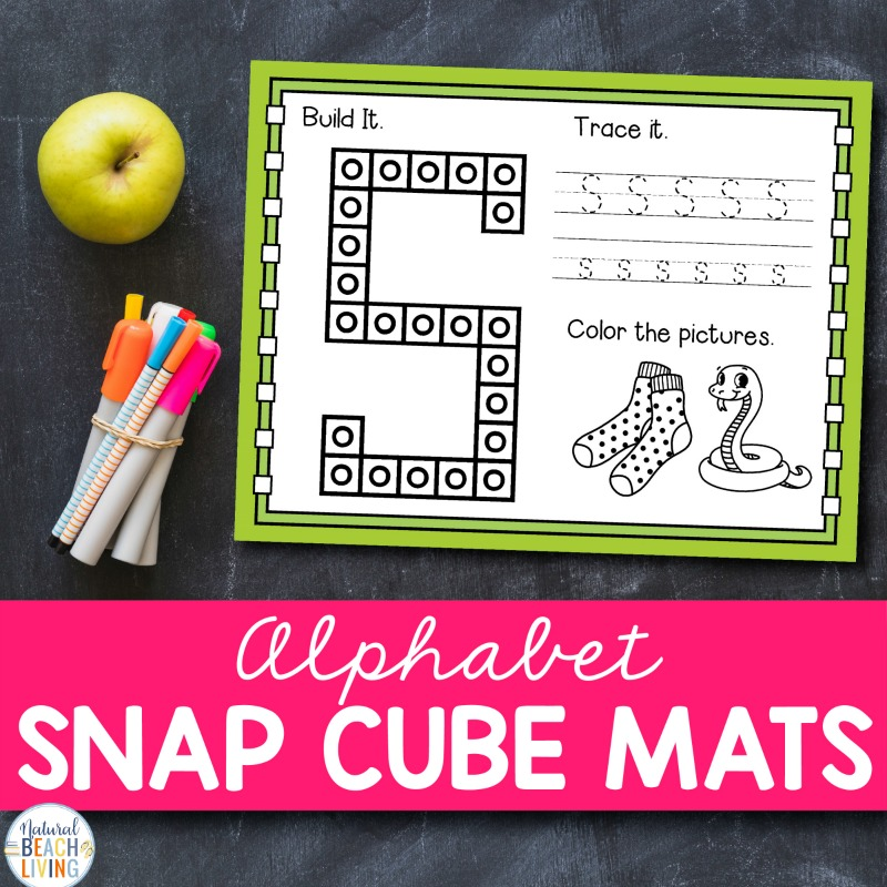 These Alphabet Snap Cube Mats are a great way to learn all about the letters of the alphabet. They are perfect for preschoolers and Kindergarten. Hands on activity Mats make a great Preschool Alphabet Activity, Learning the Alphabet, These Alphabet Worksheets a-z will have your kids engaged and learning as they practice capital letters A-Z.