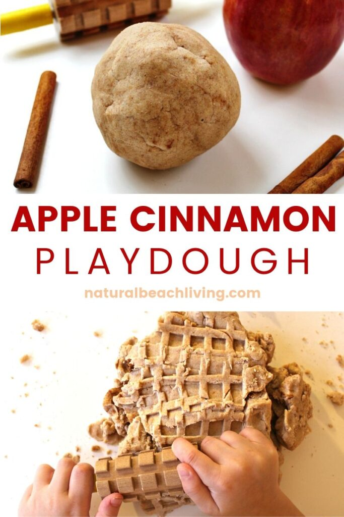 The Most Amazing No Cook Natural Apple Cinnamon Playdough Recipe, Sweet smelling, super soft homemade play dough, Fall playdough recipe, perfect sensory play, No Cook Apple Cinnamon Playdough recipe #playdough #sensoryplay #preschool