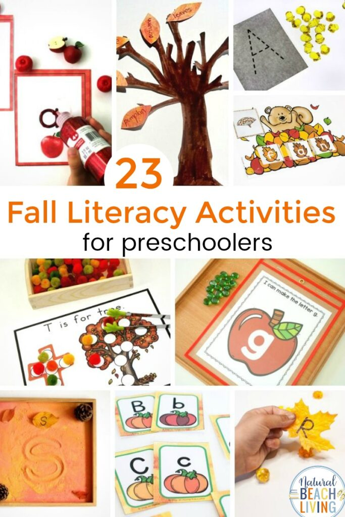 30+ Fall Literacy Activities for Preschoolers and Kindergarten are fun to do and simple to set up. With so many fall preschool ideas you'll have days of creativity, fun and learning! These Fall Preschool Activities include alphabet activities, kids learning activities, free printables for preschool and kindergarten, and activities that Teach skills needed to improve reading and foster a love of reading
