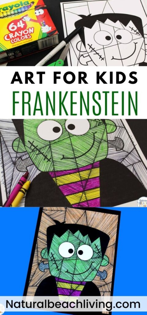 You're going to love this simple Frankenstein Art for Kids. It's such a FUN way to be creative and using the FREE FRANKENSTEIN TEMPLATE makes it easy for Halloween Art for Preschool and Kindergarten children. Add this to a 30 Day Art Challenge in October or make it to display for Halloween.
