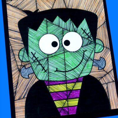 Frankenstein Art for Kids with Free Frankenstein Template