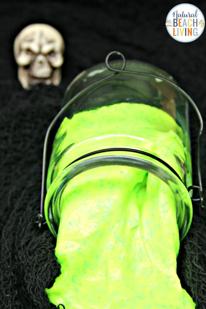 This Glow in the Dark Slime is a perfect Halloween activity or just a great sensory activity for children of all ages. Everyone loves slime! Plus we have The Best Slime Recipe with Contact Solution ideas including How to make clear slime, jiggly slime, Slime Supplies and so much more.
