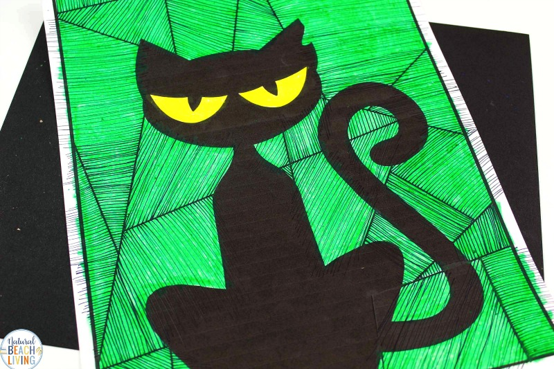 This Preschool Cat Art Activity is such a fun way for your children to draw and color while using their imagination and creativity. Using this Free Cat template is a simple way to have them color a super cute decoration. A fun Cat Coloring Activity for Kids and black cat drawing, Halloween Drawing Art