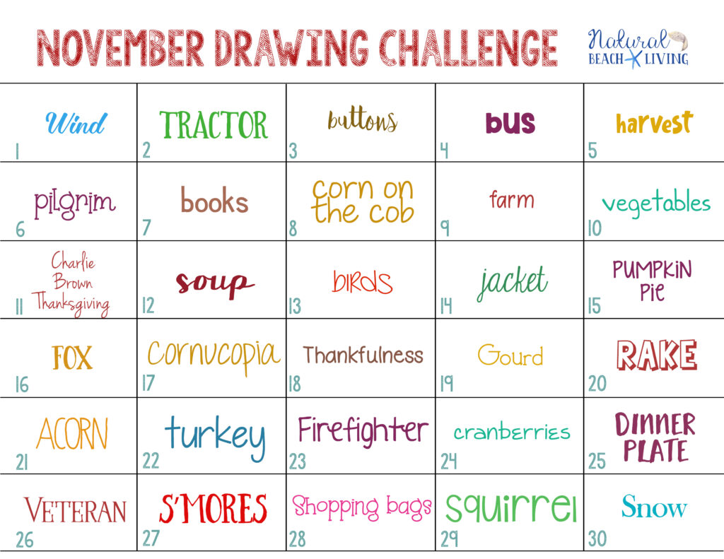 Enjoy this November Drawing Challenge for a great way to use your creativity this month. You and your kids can have fun drawing a fall theme every day. With this free 30 day drawing challenge you can make this a family activity, a child's art project, or a Monthly Drawing Challenge you do with friends.